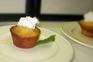 Lemon Cakes with Lemon Basil Syrup