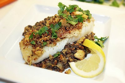 Pan Roasted Halibut with herbed lentils and breadcrumbs