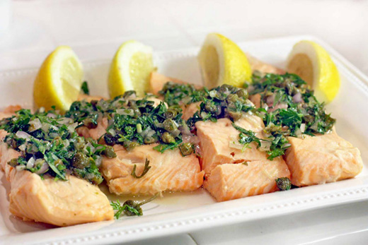 Not So Poached Salmon with Capers and Herbs