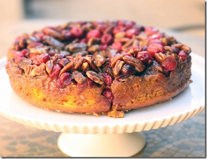 Cranberry Pecan Pumpkin Upside Down Cake