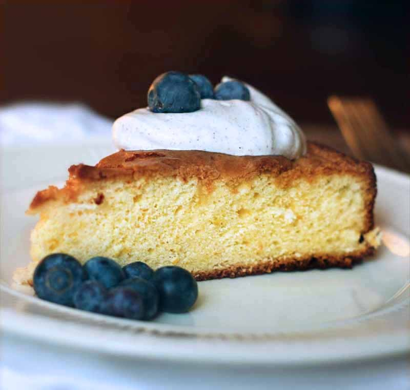 Lemon Olive Oil Cake with Cardamom Cream