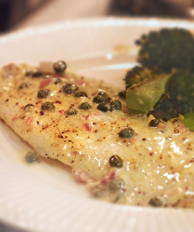 Tilapia with Mustard and Capers
