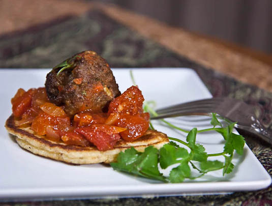 Moroccan Lamb Meatballs with Spicy Tomato Chutney on Matafan