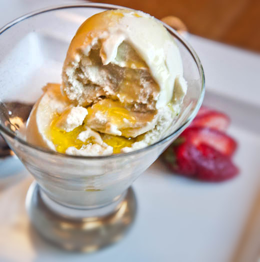 Olive Oil Ice Cream with Lemon Infused Olive Oil and Fleur de Sel