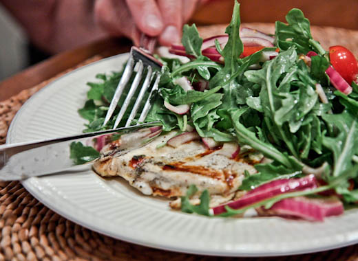 Chicken Paillard with Lemon and Black Pepper with Arugula-Tomato Salad