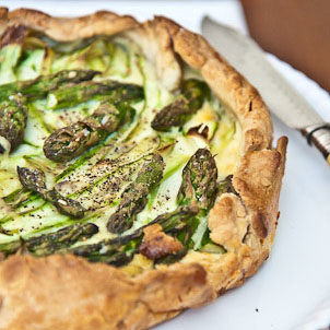 Shaved Asparagus Galette with Mascarpone and Jarlsberg