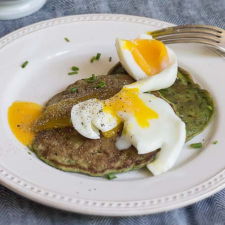 Chard Pancakes with Soft-Boiled Egg
