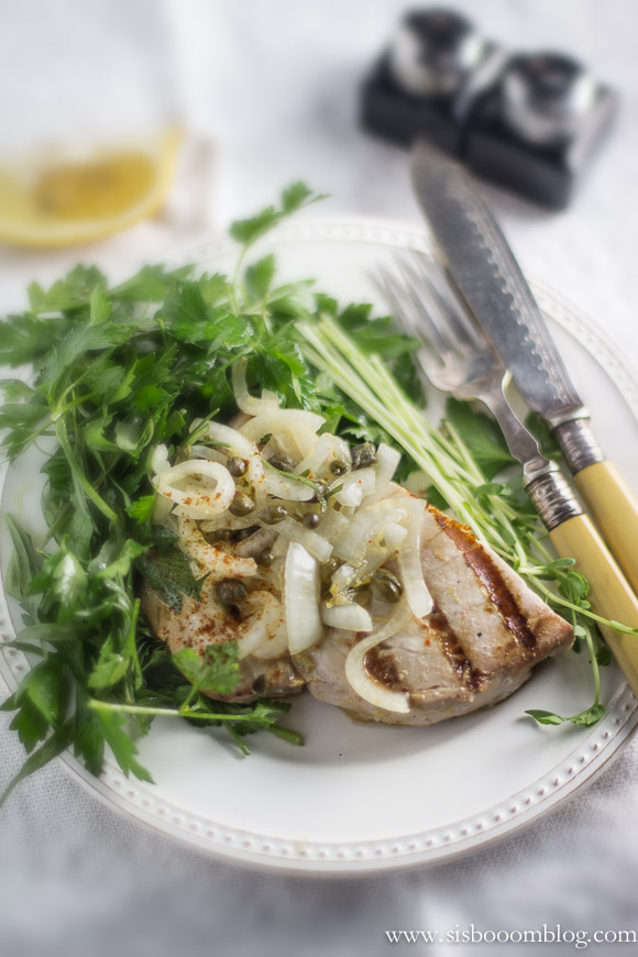 Grilled Swordfish with Parsley Herb Salad - Sis. Boom. Blog!