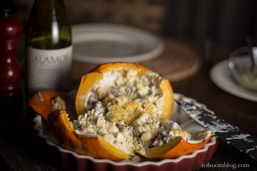 Pumpkin stuffed with Fontina and Sausage