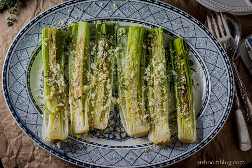 Broiled Leeks Vinaigrette with Mimosa