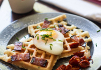 Smoked Salmon Waffles with a Poached Egg